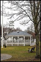 Gazebo and church. Walpole, New Hampshire, USA (color)