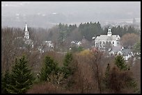 View from above with church and town hall. Walpole, New Hampshire, USA (color)