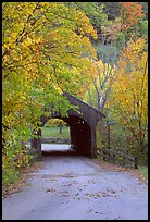Covered bridge in the fall, Bath. New Hampshire, USA