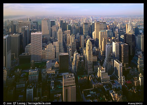 Mid-town Manhattan skyscrapers from above, late afternoon. USA (color)