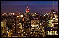 Night skyline with Empire State Building. NYC, New York, USA ( color)