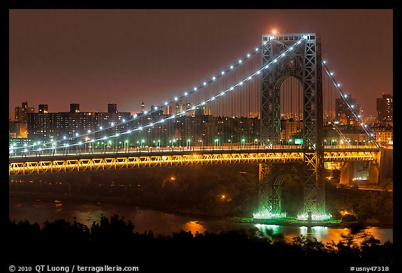 Washington Bridge at night. NYC, New York, USA (color)