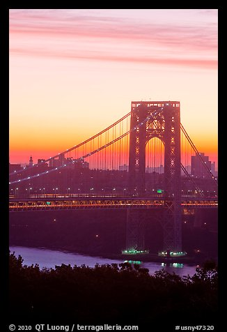 Washington Bridge at dawn from New Jersey. NYC, New York, USA (color)