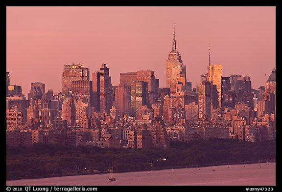 Manhattan skyline at sunrise. NYC, New York, USA (color)
