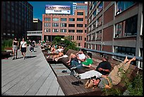 People sunning themselves on the High Line. NYC, New York, USA (color)