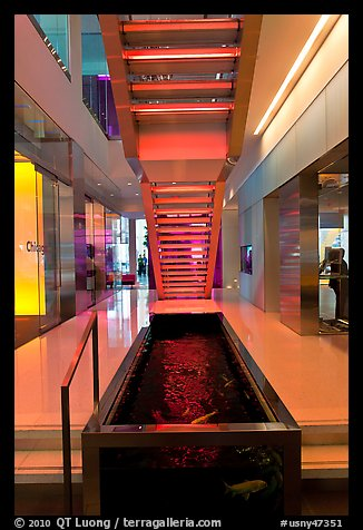 Staircase and pool, Bloomberg building. NYC, New York, USA (color)