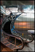 Rare curved escalator, Bloomberg Tower. NYC, New York, USA ( color)