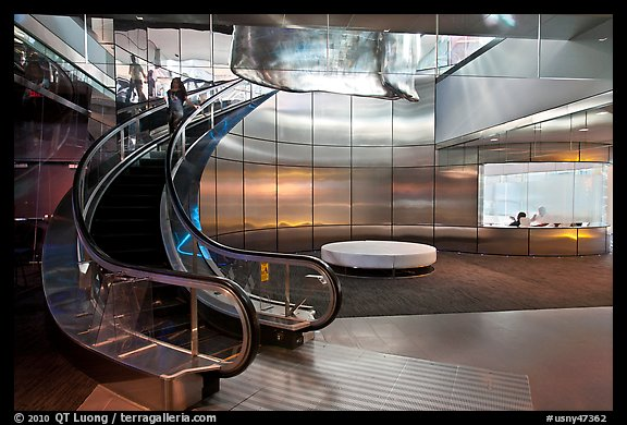 Curved Moving Staircase And Meeeting Room, Bloomberg Building. NYC, New  York, USA