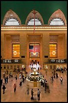 Main information booth and flag hung after 9/11, Grand Central Terminal. NYC, New York, USA ( color)