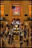 Bustling crowds in motion, Grand Central Station. NYC, New York, USA (color)