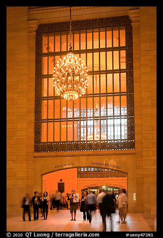 Gate and chandelier, Grand Central Terminal. NYC, New York, USA (color)