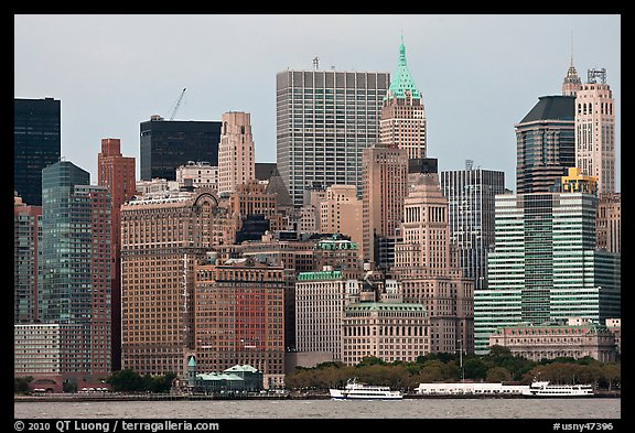 Lower Manhattan skyline,. NYC, New York, USA (color)