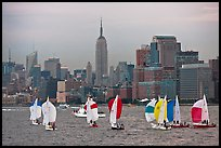 Sailboats and Manhattan skyline, New York Harbor. NYC, New York, USA (color)
