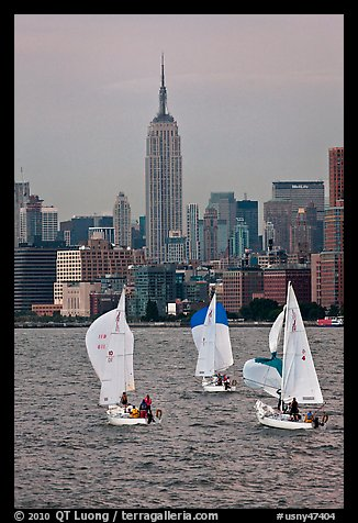 Sailboats and Empire State Building. NYC, New York, USA (color)