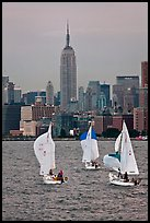 Sailboats and Empire State Building. NYC, New York, USA ( color)