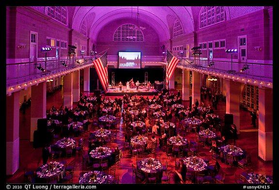 Gala, Great Hall of Immigration Museum, Ellis Island. NYC, New York, USA (color)