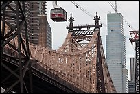 Aerial tramway car and Queensboro bridge. NYC, New York, USA ( color)