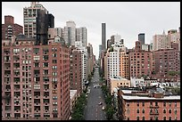Street and buildings from above, Manhattan. NYC, New York, USA ( color)