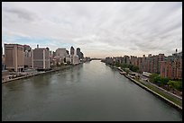 Hudson River between Manhattan and Roosevelt Island. NYC, New York, USA ( color)