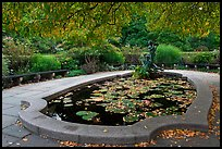 Pool and sculpture, South Garden, Central Park. NYC, New York, USA (color)