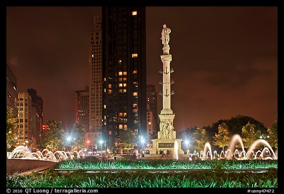 Columbus Circle at night. NYC, New York, USA (color)