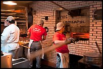 Pizza preparation, Lombardi pizzeria kitchen. NYC, New York, USA (color)