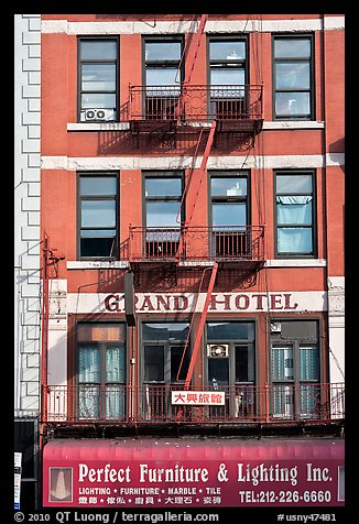 Facade detail, Bowery Hotel. NYC, New York, USA (color)
