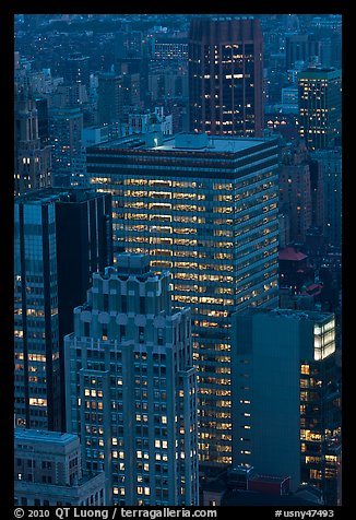 Office towers at dusk. NYC, New York, USA (color)