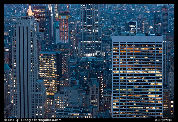 Mid-town towers at dusk from above. NYC, New York, USA (color)