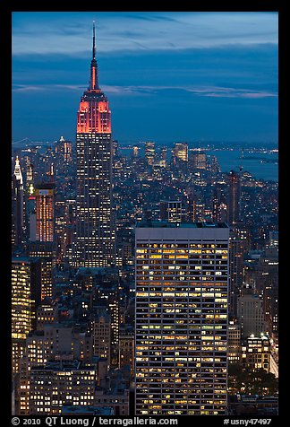 Empire State Building and skyline at night. NYC, New York, USA