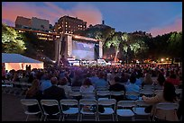Central Park outdoor event celebrating Ken Burns National Parks series, QTL photo on screen. NYC, New York, USA ( color)