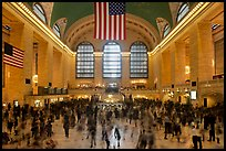 Dense crowds in  main concourse of Grand Central terminal. NYC, New York, USA (color)