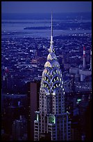Chrysler building, seen from the Empire State building at dusk. NYC, New York, USA (color)