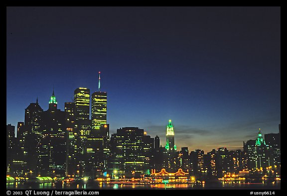 South Manhattan and World Trade Center from Brooklyn, dusk. NYC, New York, USA (color)