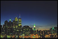 South Manhattan and World Trade Center from Brooklyn, dusk. NYC, New York, USA