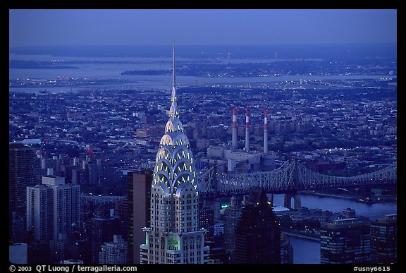 Chrysler building, seen from the Empire State building, nightfall. NYC, New York, USA (color)