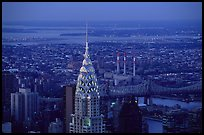 Chrysler building, seen from the Empire State building, nightfall. NYC, New York, USA