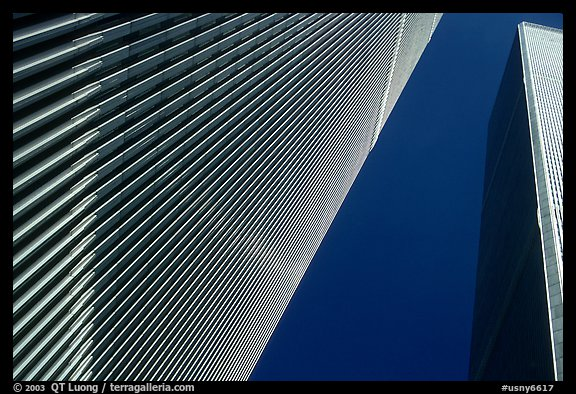 World Trade Center Twin Towers seen from the base plaza. NYC, New York, USA