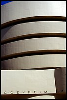 Facade detail, Solomon R Guggenheim Museum. NYC, New York, USA