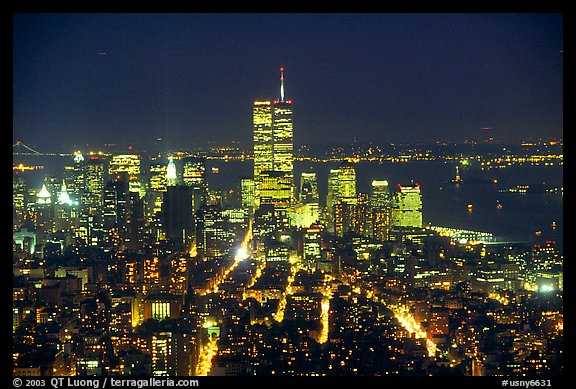 Lower Manhattan seen from the Empire State Building at night. NYC, New York, USA (color)