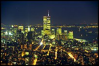 Lower Manhattan seen from the Empire State Building at night. NYC, New York, USA