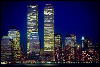 World Trade Center Twin Towers at night. NYC, New York, USA (color)