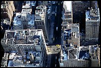 Canyon-like streets and yellow cabs seen from the Empire State building. NYC, New York, USA