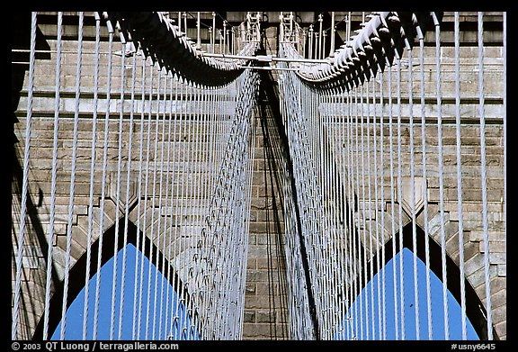 Brooklyn Bridge detail. NYC, New York, USA