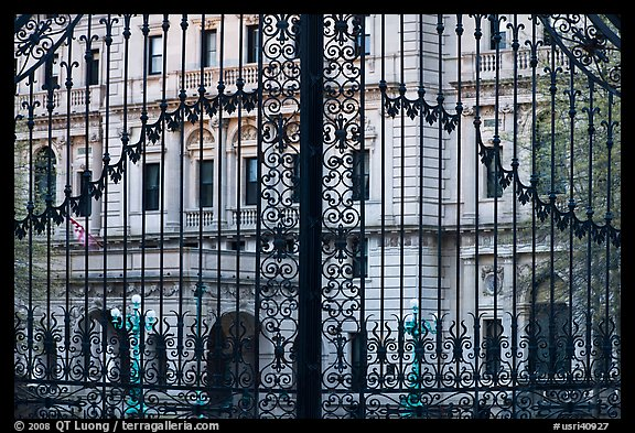 The Breakers seen through entrance gate grid. Newport, Rhode Island, USA