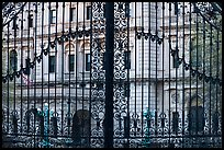 The Breakers seen through entrance gate grid. Newport, Rhode Island, USA (color)