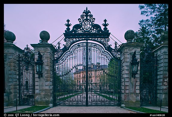 Entrance gate of the Breakers mansion at dusk. Newport, Rhode Island, USA (color)