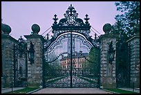 Entrance gate of the Breakers mansion at dusk. Newport, Rhode Island, USA ( color)