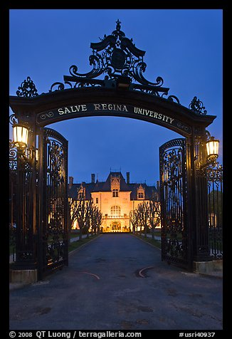Entrance gate and Salve Regina University at night. Newport, Rhode Island, USA (color)