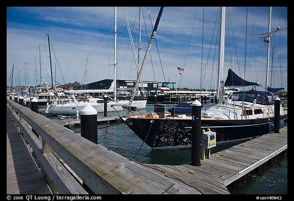 Large yachts in Newport harbor. Newport, Rhode Island, USA (color)